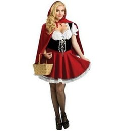 Wholesale Womens Christmas Costumes - New Arrival Fashion Female Christmas And Halloween Costume Sexy Ladies Little Red Riding Hood Fancy Dress Adult Womens Costumes W428856
