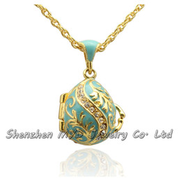 Wholesale Slide Enamel - Wholes high quality jewelry women Russian style crystal leaf tree Easter egg pendant locket necklace hand enamel Easter Day gifts