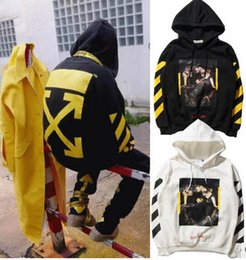 Wholesale Pyrex Vision Religion - EXO Style OFF WHITE Men And Women Hooded Sweater Stripe Hoodies Sweatshirts Pyrex Vision Religion Painting VIRGIL ABLOH Jogging Pullover