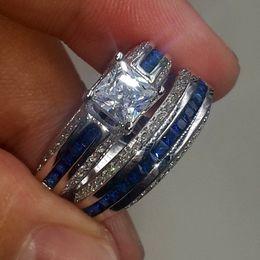 Wholesale Princess Cut Diamond Ring Gold - wholesale Fashion Precious Princess-cut Bule Simulated Diamond CZ jewelry 10kt white gold filled Wedding Band Ring Set for Women Cocktail