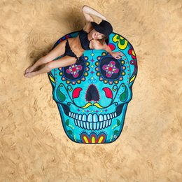 Wholesale Red Pink Yellow Blanket - 3D Print Floral Skull Watermelon Ice Cream Donuts Beach Towel 2017 New Beach Blanket Tapestry Cute Gypsy Round Yoga Mat