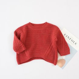Wholesale Round Bats Shirts - Everweekend Baby Solid Knitted Bat Shirt Western Fashion Sweet Children Autumn Clothing Princess Holiday Party Blouse