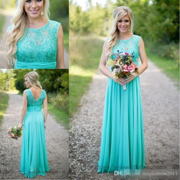 Wholesale Dresses For Bride Maids - 2016 Turquoise Bridesmaid Dresses Cheap Country Scoop Neck Chiffon Floor Length Lace V Backless Long Formal Maid of Honor Dress for Bride