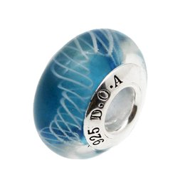 Wholesale Wholesale Sterling Silver Religious Bracelets - Real S925 Sterling Silver Fashion jewelry Water blue faceted Murano Glass Beads Fit European DIY pandora Charm Bracelets & Necklace