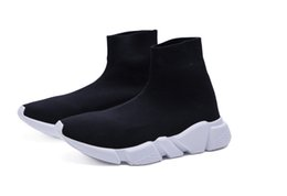 Wholesale white high tops shoes - Luxury Brand Unisex Casual Shoes Flat Fashion Socks Boots Red Grey Triple Black White Stretch Mesh High Top Sneaker Speed Trainer Runner