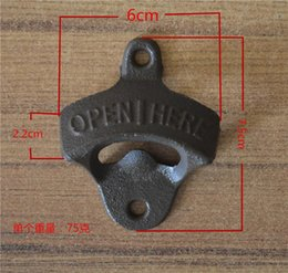 Wholesale Vintage Opener - 20pcs Hot Sales Chic Vintage Antique Iron Wall Mounted Bar Beer Glass Bottle Cap Opener Kitchen Tools Bottle Opener Beer Opener Without Srew