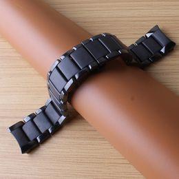 Nueva llegada correa de reloj pulsera de cerámica con extremo curvo para los hombres 1451 1452 correa de reloj de 24 mm de color negro pulido y color impermeable impermeable desde fabricantes