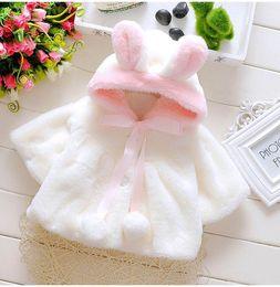 Wholesale Child Plush Coat - Retail Winter Baby Girl Coats Hooded plush Long Sleeve Cloak Poncho Children Clothing 0-3T E170818