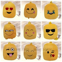 Wholesale baby book bags - Kids Emoji Plush Backpacks Emoji Schoolbags Stuffed Shoulder Bag QQ Cartoon Book Bag Kindergarten Baby Plush Emoji Backpacks New 916 10