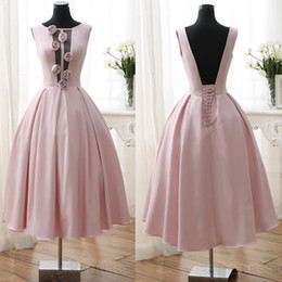Wholesale Sexy Halter Girl Ball Gown - 2016 3D-Floral Flowers Homecoming Dresses Tea Length Sexy Low V Back Pink Girl Prom Dresses Graduation Dresses