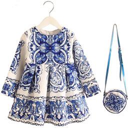 Wholesale Tutu Flower Girl Dresses China - Retail 2-8years Dress+Bag set New Cute Kids Baby Girl Summer Spring Fall Long-Sleeve Perfume Princess Flower China blue 2016