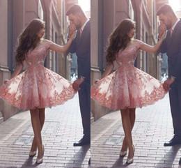 Wholesale Blush Prom Homecoming Dresses - Blush Pink Lace Short Prom Dresses 2017 Elegant Off Shoulder Appliques Knee Length Short Homecoming Dresses Evening Party Dresses
