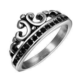 Wholesale Cheap Stones For Rings - Kings Crown mens rings Vintage Stainless Steel Ring with box Fashion Jewelry Party Halloween Gift For Boys Wholesale Cheap RG-078