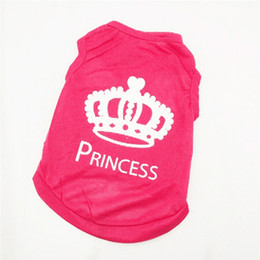 Wholesale Small Wedding Crowns - Pet Dog Vest Clothes T-Shirt Cat Puppy Crown Shirt Red Summer Dog Cat Apparel Free Shipping