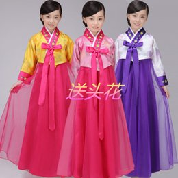 Wholesale Children Dressed Traditional Clothing - green Girl Hanbok Child traditional Korean clothing Korean minority show stage dance costume dresses cosplay holiday dress