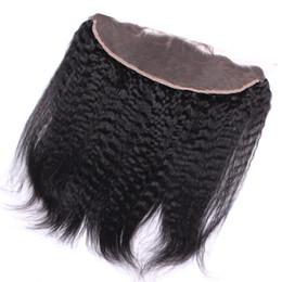 Wholesale New Yaki - New Arrival Kinky Straight Lace Frontal 13x4 Inch Brazilian Hair Italian Coarse Yaki Ear To Ear Full Lace Frontals For woman