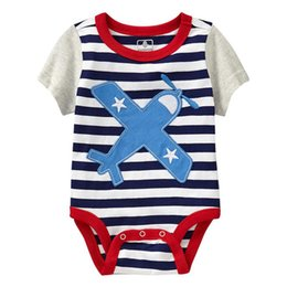 Wholesale Boys Clothing Planes - Plane Baby Boys Clothes Bodysuit Summer Short Sleeve Bebe Clothing Sewn Stripe Newborn Clothes Body for Toddler Jumpsuit