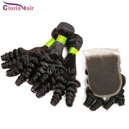 Wholesale Cheap Hair Spirals - Queen Beauty Spiral Romance Curls Weaves Cheap Bouncy Curly Unprocessed Indian Aunty Funmi Human Hair Bundles with Lace Closure