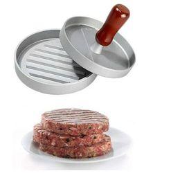 Wholesale Wood Presses - Free shipping HamBurger Patties Maker Meat Hamburger Mold w  wood Handle Burger Maker Diam 4.7'' 12cm for Pizza Patties Sandwich