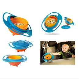 Wholesale Toddler Bowls - Baby Toys 360 Rotating UFO gyroscope rotating Bowl Baby Non Spill Feeding Toddler kids Avoid Food Spilling Baby Safety Feeding