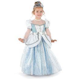 Wholesale Girl S Chiffon Dress - 2016 Cinderella Girls Dress Blue Princess Costume Party Girl Light blue maid Dress Kids Girl Vestiodo Dress Diamond Party Dress