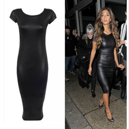Wholesale Sexy Leather Maxi Dresses - Sexy Womens Bodycon Dresses PU Leather Pencil Pants Knee Length Short Sleeve Black Dress Back Clubwear Hip Maxi Casual Dresses For Women