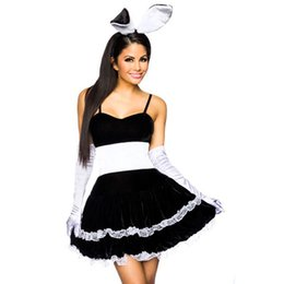 Wholesale Halloween Bunny Costume - Hop Hop Black Bunny Girl Fancy Dress Costume Sexy French Maid Black Fancy Dresses Set Role Play Halloween Costume M-XL W850636