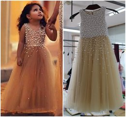 Wholesale Little Girls Pageant Dresses Rhinestones - Pageant Dresses for Little Girls Pearls Crystal A-line Tulle Gown Champagne Flower Girl Dress Weddings Real Picture Custom Made Formal Gowns