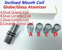 Wholesale Rods For Sale - Hot Sale Glass Globe Atomizer Glass Tank Wax Vaporizer Dual Quartz Ceramic Rod Cotton Donut Coils for 510 thread battery ecigs