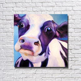 2019 billige kunstfarbe Günstige Moderne Kuh Ölgemälde Große Leinwand Kunst Bilder an der Wand Moderne Dekoration Hohe Qualität Cartoon Ölgemälde günstig billige kunstfarbe