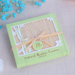 Wholesale table gifts for weddings - Natural Bamboo Coasters Cup Mat Table Placemat Wedding Favors And Gift Party Souvenir Giveaway For Guest ZA4379