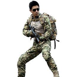 Chaud! costume de camouflage de chasse en plein air chemise de combat multicam uniforme pantalon tactique avec des genouillères camouflage vêtements de chasse ensembles ghillie ? partir de fabricateur