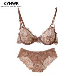 Wholesale 38d Size Girl - Wholesale-CYHWR New arrival sexy lace bra briefs set ultra thin woman lolita girl bra set sexy woman underwear set