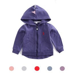 Wholesale Girls Red Coats Winter - Ins Embroidered Dinosaur Hoodies Zipper Kids Autumn Winter Children's Boys Girls Unisex Baby Coats Outdoor Sport Jackets Outfits 0-5T