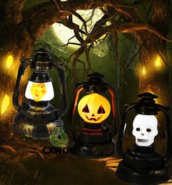 Wholesale Toy Pumpkins - 2016 Halloween decoration Trick toys Mini pumpkin lantern light with sound Ghost witch hand lamp Battery power supply for children gift