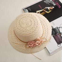 Wholesale Handmade Bucket Hats - Wholesale- Summer Handmade flower strawhat women's Garland sunbonnet bucket hat roll-up hem beach cap sun hat for women