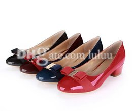 Wholesale Chunky Heel Dress Shoes - 2016 Fashion patent leather Shoes Woman Hot Selling Sexy Round Shallow Mouth Thin High Heel Shoes New Fashion Pumps women chunky Heel shoes