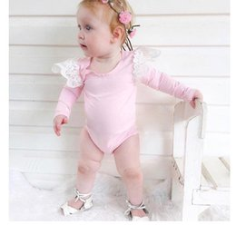 Wholesale Wholesale Baby Lace Bodysuits - Everweekend Ins Hot Baby Girls Lace Fashion Rompers Bodysuits Infant Toddlers Fly Sleeves Western New Solid Stripe Rompers