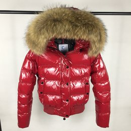 Wholesale Fur Coats Brands - M18 Brand women down jacket thickening Short down parkas 100% real raccoon fur collar hood down coat Black Red Color