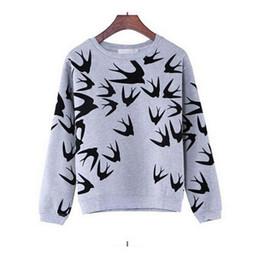 Wholesale Women Loose Grey Sweatshirts - 2016 Women Spring Sweatshirt Stylish Swallow Print Hoodies Loose long sleeve Pullover for lady grey color thin o neck