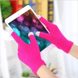 2019 handschuhtelefon Touch Screen Handschuhe stricken Wollwärmer-Handschuhe Handy-Bildschirm-magische Noten-Handschuhe multi Farben geben Verschiffen frei günstig handschuhtelefon