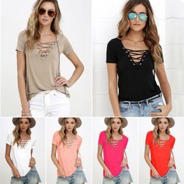 Wholesale Ladies Lace Cotton White Blouses - Casual Womens Lace-up V Neck Blouse Top Shirt Summer Short Sleeve Ladies Fashion Women T-shirt High Quality