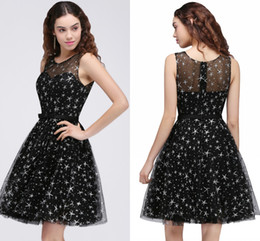 Wholesale Homecoming Dresses Little Girls - Wholesale Price Black A Line Homecoming Dresses with Star Sheer Jewel Neck Party Dresses For Girls Graduations Gowns New Arrival CPS684