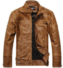 Wholesale Leather Mens Jacket Xl - Fall-2016 PU Leather Jackets Men Jaqueta De Couro Masculina Bomber Leather Jacket Mens Stand Collar jacket Motorcycle zll T0525