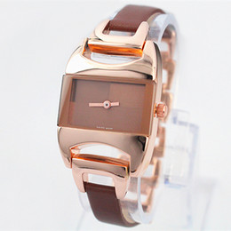Wholesale Gift Boxes Fashion - A piece lot Fashion Luxury Women Watch Rose gold Stainless Steel Leather Sexy Lady Watch High Quality Famous Brand table Free Box Gift
