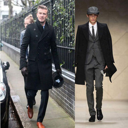 Wholesale Trench Coat Long Men Uk - New Fashion Slim Fit Men Casual Trench Coat Mens Long Winter Coats Mens Wool UK Style Outwear Overcoat Outerwear free shipping