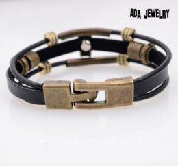 Wholesale Men S Infinity Bracelet - New Arrival Handmade Men 's Charms Bracelet 2015 Fashion Punk Style Black Leather Infinity Skull Bracelet Wrap Bracelet Jewelry
