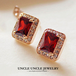 Wholesale Red Ruby Earring - Top Quality Rose Gold Plated Red Ruby Austrian Crystal Rectangle Princess Cut Woman Stud Earring Wholesale