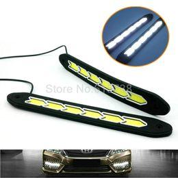 Wholesale Audi A4 Fog Lights - Car Headlight High Power COB LED Driving Fog Lamp Auto Head LED Daytime Running Light With turn light white+amber
