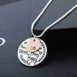 Wholesale Necklace Rose Gold - 2016 New Simple Necklace Rose Gold Plated Pendant Necklace Hand Stamped Be Alloy Letter Necklace Cute Coin Engraved Love Necklace for Women